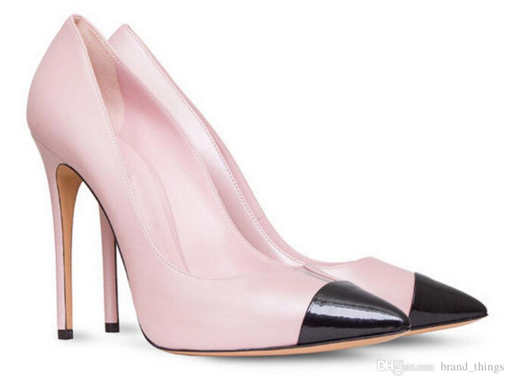 2017 mode sommer frauen pumpt damen sexy hochzeit high heels dünne ferse Tag Rosa Leder Cap-Toe pumpe weißen kleid schuh