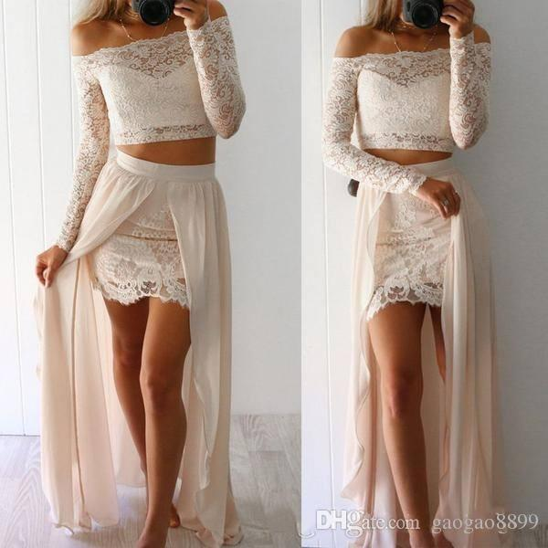 2017 Two Pieces Prom Dresses Sexy Sheer Long Sleeves Off the Shoulder Mini Short Full Lace Party Wear With Chiffon Overskirts Dresses DTJ