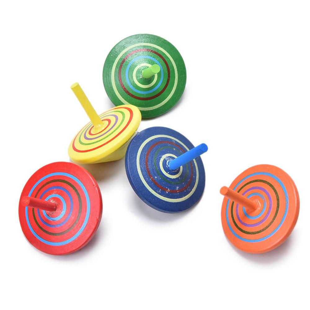 Wholesale Classic Wood Gyro Toy Multicolor Mini Cartoon Wooden Spinning Top Learning Educational Toys For Kids Kindergarten Tops