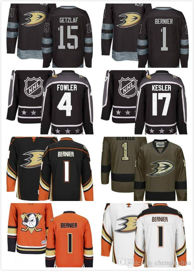 b71fc8772 Men Anaheim Ducks  1 Jonathan Bernier Jerseys  17 Ryan Kesler Jerseys  4  Cam Fowler Jersey  15 Ryan Getzlaf Authentic Black Home NHL Jersey Jonathan  Bernier ...