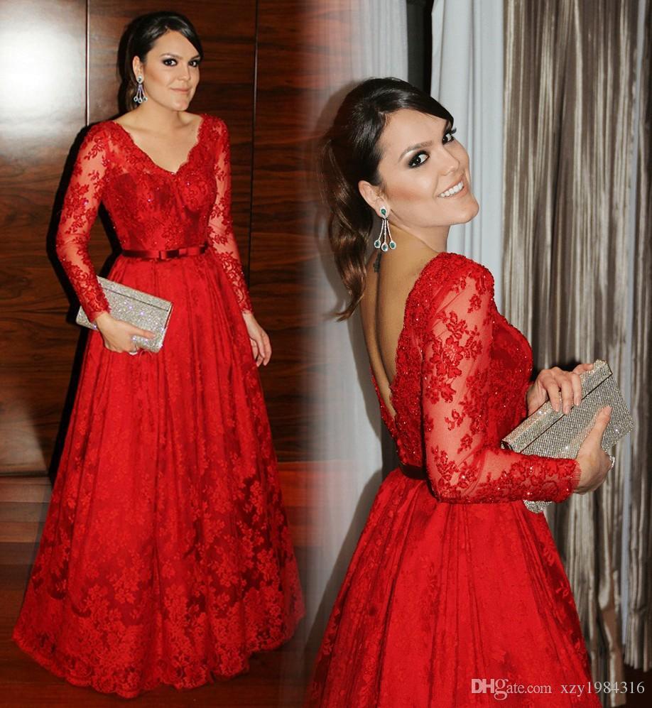 Red Charming Mutter der Braut Kleider Elegant V-Ausschnitt Spitze Applique Lange Ärmel Hübsches Frauen-Partykleid Glamouröse A-Line Abendkleider
