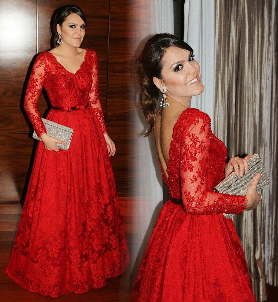 Rouge Charmante Mère De La Robes De Mariée Élégante Col En V Dentelle Applique Manches Longues Jolies Femmes Robe De Fête Glamorous A-Line Robes De Soirée