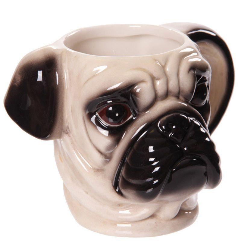 Creative dog lovers gift cute 3d pug animal dog head for Animal shaped mugs