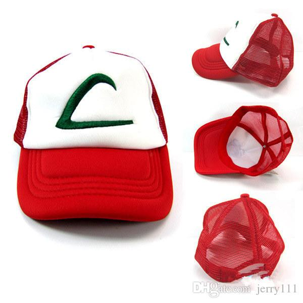 551d84a79f9a5 4 Design Poke Ash Ketchum Trainer Hat Cosplay Costume Cap Adult Mesh Hat  Trucker Baseball Hat LC410 3 UK 2019 From Jerry111