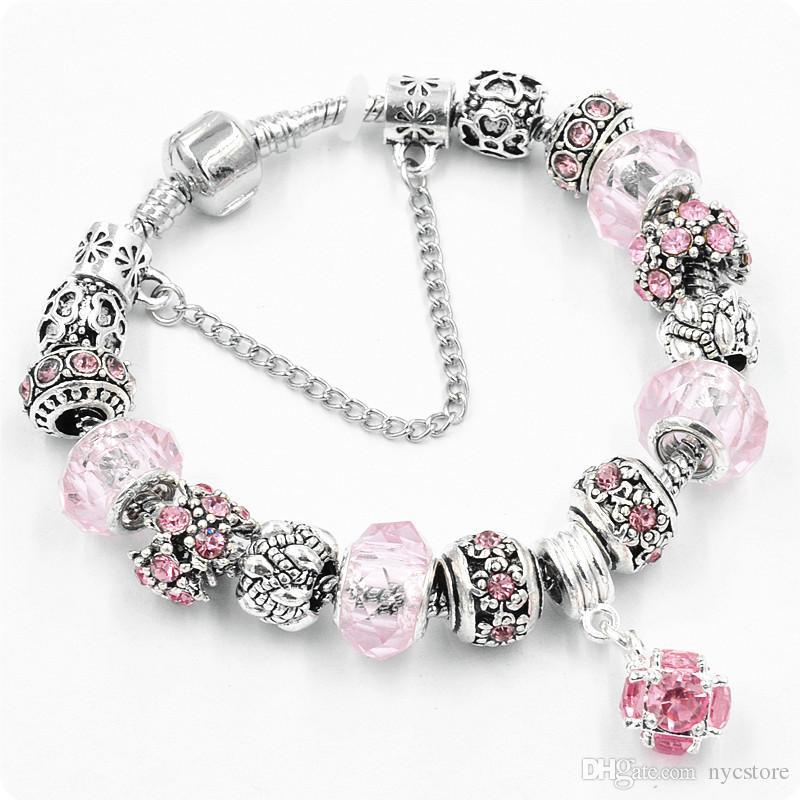 Pandora Style Bracelet Bead Charm Bracelets for Women Glass Pendant Crystal Chain Jewelry