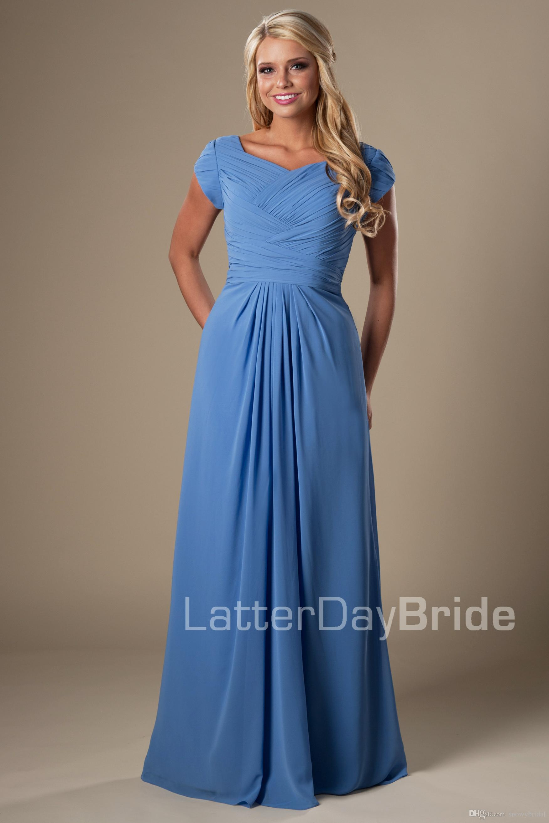 Blue Chiffon Modest Bridesmaid Dresses 2017 With Cap Sleeves Long ...