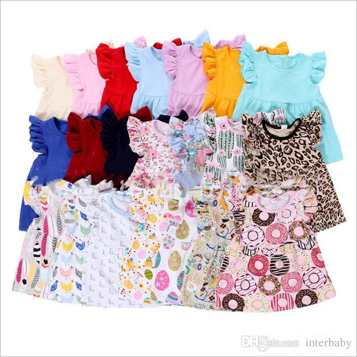 7ddabb278c Kids T Shirts Girls Print Summer Shirts Children s Lace Fly Sleeve Blouse  Leopard Cotton T-Shirt Floral Stripe Tees Baby Kids Clothes B2364