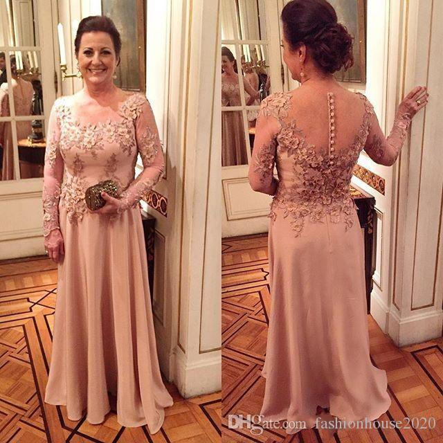 2017 Vintage Mother Of The Bride Dresses Long Sleeves Lace