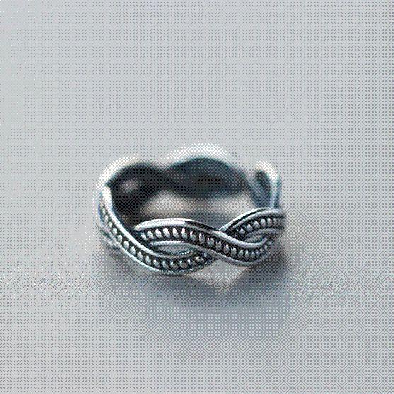 925 Sterling Silver Twist Spider Open Ring Black Color b0m4rgHr