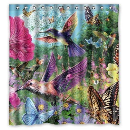 Hummingbirds And Butterflies Gathering Honey Design Shower Curtain Size  165x180 Cm Custom Waterproof Polyester Fabric Bath Shower Curtains Bath  Shower ...