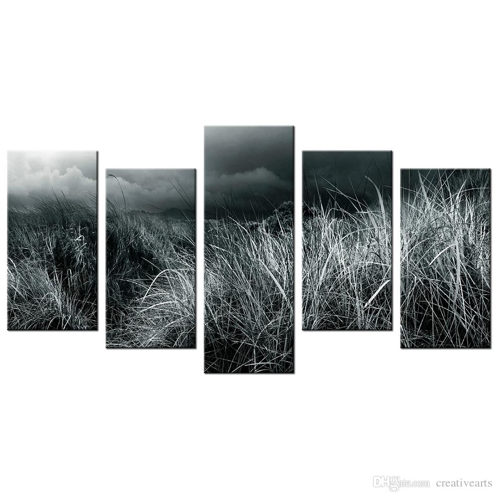 Meadow hd picture canvas artwork grassland black and white photo giclee prints wholesale canvas painting for decor