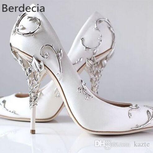 Hojas de filigrana ornamentales en espiral Naturalmente arriba Tacón Blanco Mujeres Zapatos de boda Chic Satin Stiletto Heels Eden Pumps Bridal
