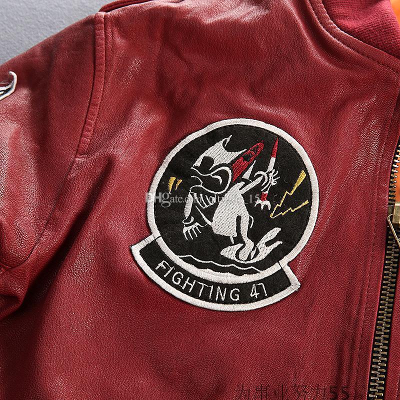 Борьба 41 AVIREXFLY флокирование овчины CARRIER Air WING Мужчины Женщины пары бейсбольная куртка вышитые бомбардировщик кожаная куртка