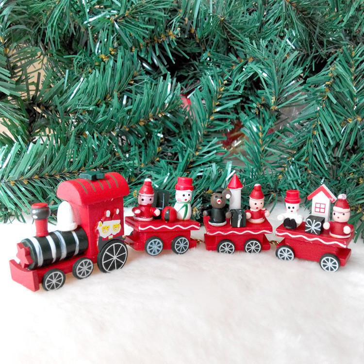 christmas train set holiday winter santas express vintage look rare small wooden trains cartoon car toys best christmas gifts dhl free - Train Set For Christmas Tree