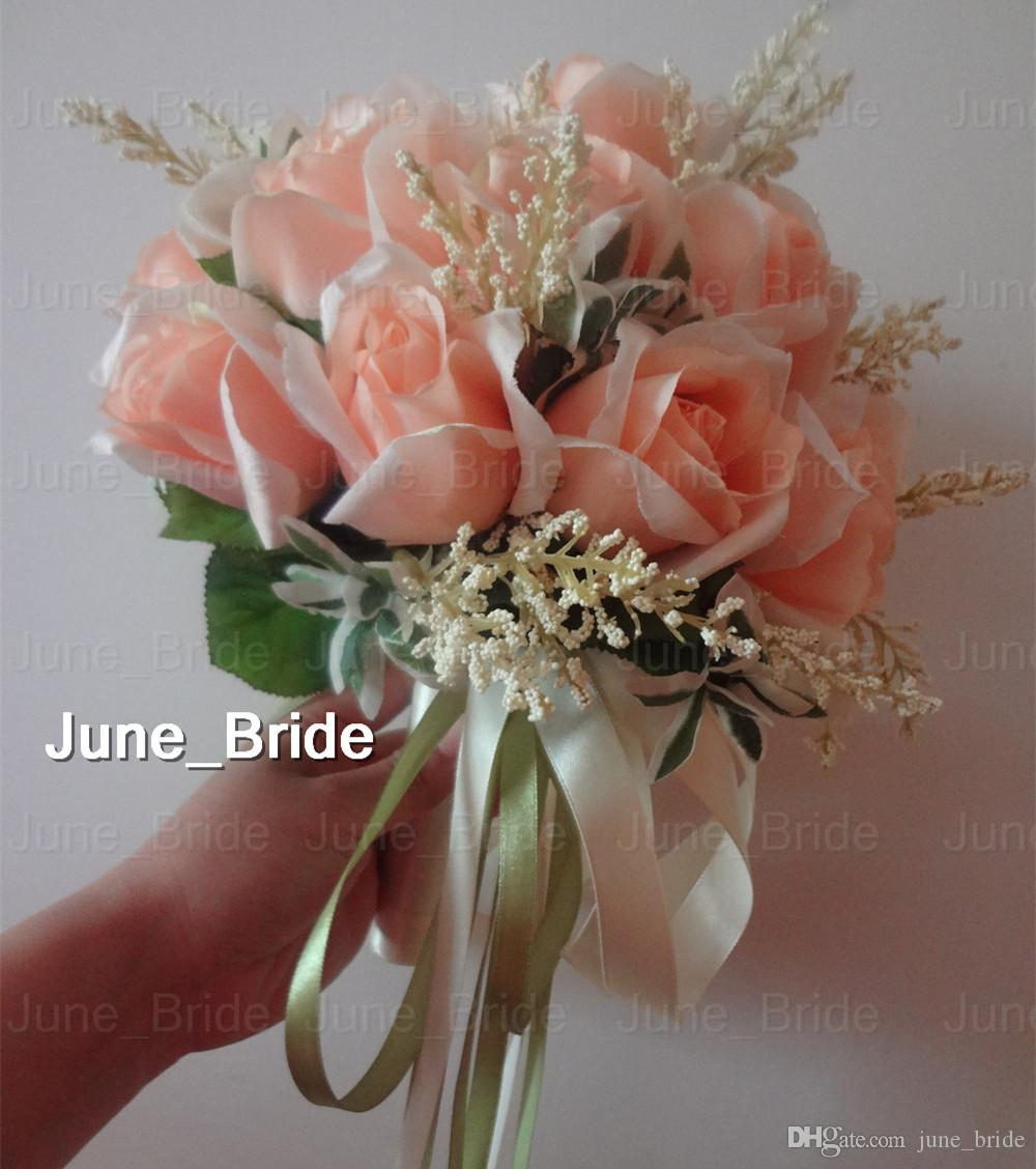 Lovely peach rose bridal bouquet 18 flowers real photo high quality lovely peach rose bridal bouquet 18 flowers real photo high quality bridal throw flower green leaves wedding bridesmaid bouquet with ribbons blue wedding izmirmasajfo