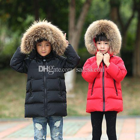 66f0c6dc1174 2018 Boys Winter Jacket Children Duck Down Long Section Girls Warm ...