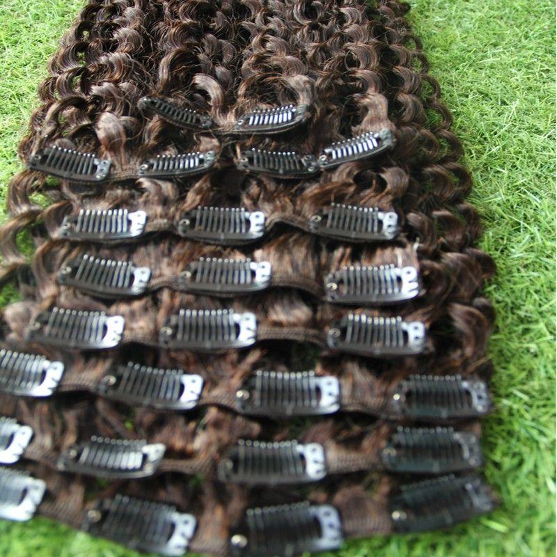 Clip rizado Kinky marrón oscuro # 4 en extensiones de cabello Clip afroamericano en extensiones de cabello humano Clip de rizado rizado afro afro de 100 g