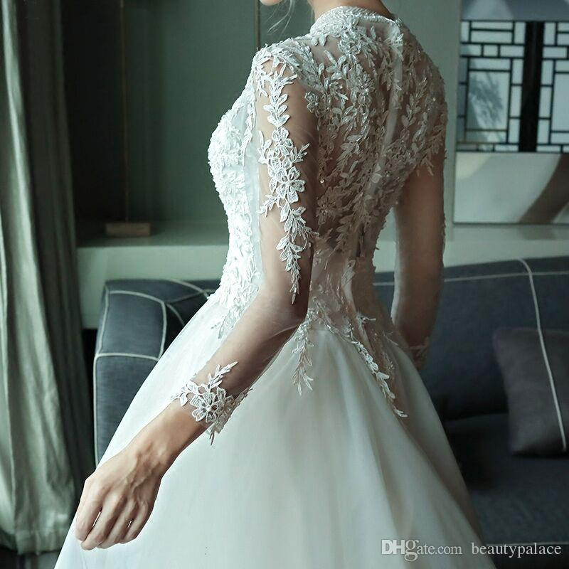 Bridal Beaded Sequin A Line Lace High Collar Long Sleeve Lace Wedding Dress 2017 Weeding Tulle Cap Sleeve Long Wedding Gown