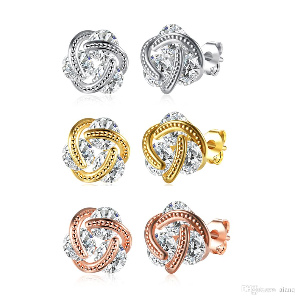 Band Yeni Taç Düğün Damızlık Küpe Takı Altın Gümüş Gül Altın Renk Küpe Kadın Üçlü Renk Küçük Sıcak Satış Küpe