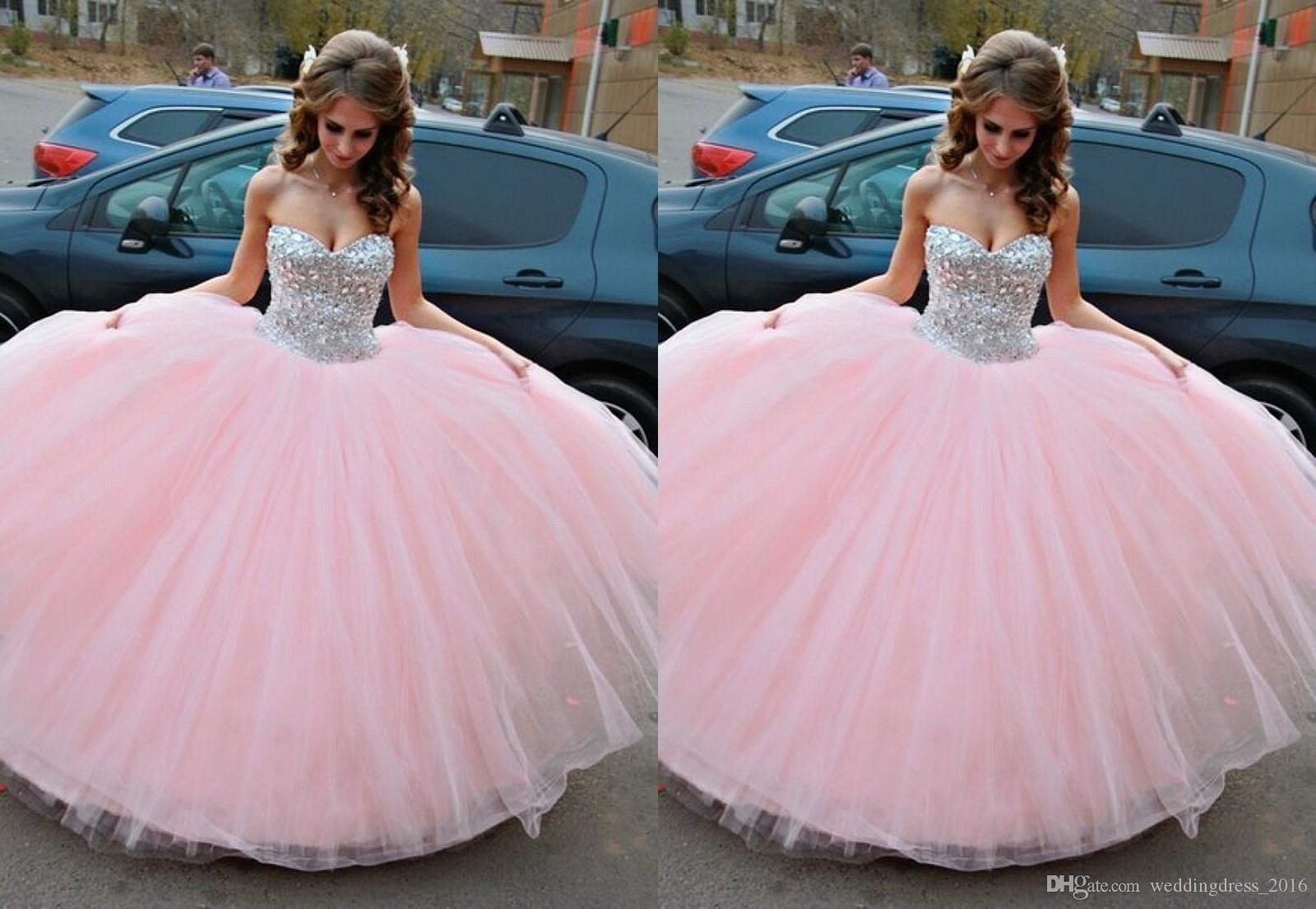 Pink Sequins Women Sweet 15 Quinceanera Dresses Beaded Long Ball ...