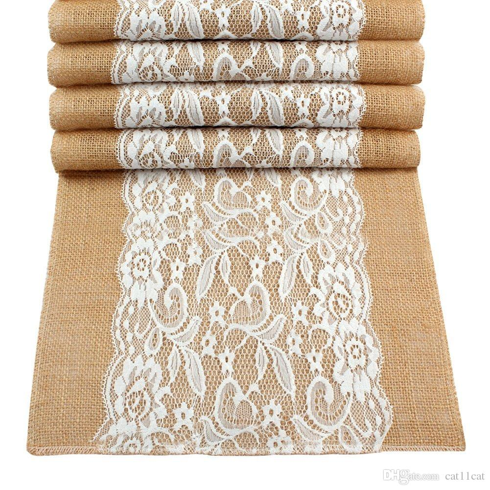 Vintage Lace Hessian Burlap Table Runner 12 X 42 Inch Natural Jute ...