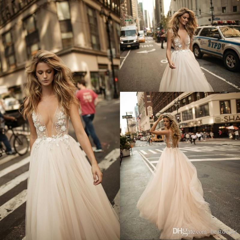 Discount Berta 2017 Sexy Deep V Neck See Through Wedding Dresses Beaded Flowers Full Tulle A Line Gowns Custom Made Beach Bridal Vintage