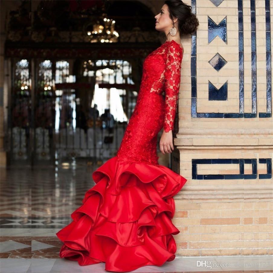 Mangas compridas Red Lace Ruffled Saia Sereia Vestidos de Noite Mulheres Ocasião Especial Vestido de Baile Vestido Aberto Para Trás vestido de festa