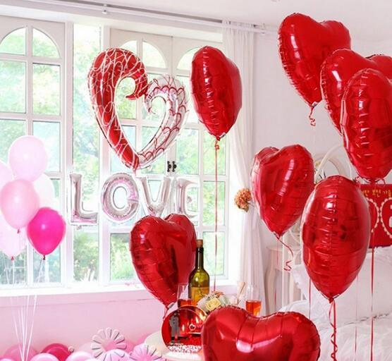 Large Hook Heart Shape Foil Balloons Double Color Heart Balloon Wedding Party Decoration Marriage Balloons h762