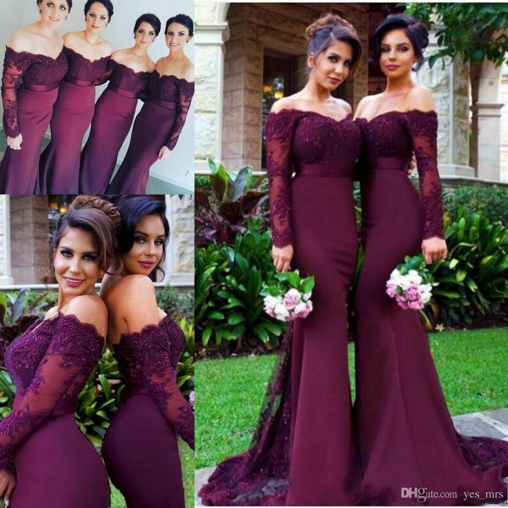 6a0b401fec 2018 Cheap Burgundy Mermaid Long Bridesmaid Dresses Sexy Off Shoulder Lace  Applique Beaded Party Gowns Maid Of Honor Dress Plus Size Custom Maternity  ...