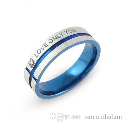 stainless steel wedding bands blue couple rings korean jewelry lovers his and hers promise ring sets men and women stainless steel ring blue couple rings - Stainless Steel Wedding Ring Sets
