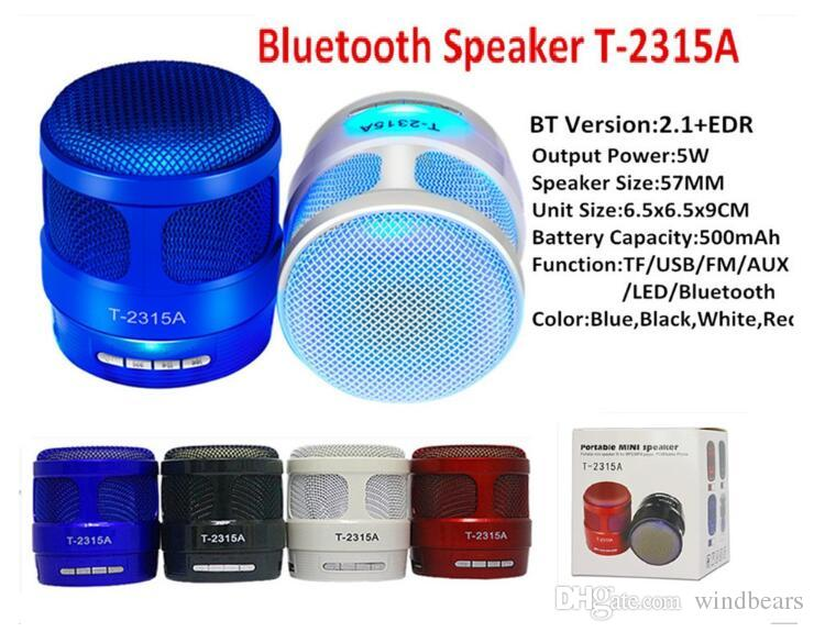 T-2315A 2315A Altavoz Bluetooth Inalámbrico con luz Mini Tarjeta de Audio Radio Caja de sonido Subwoofer Para teléfonos inteligentes Android de Apple