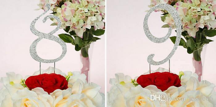 Номер торт цилиндр 0-9 Серебряный Кристалл Diamante горный хрусталь обручальное свадьба День Рождения украшения торт ботворезы большой