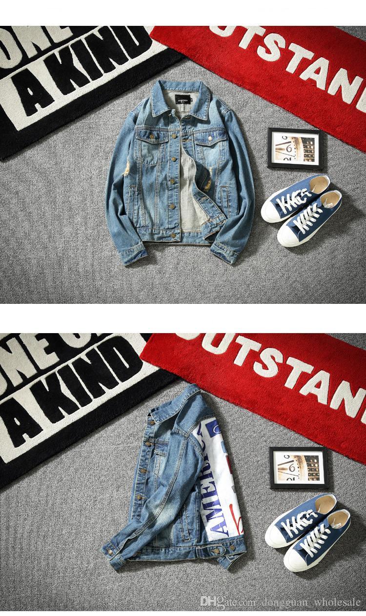 2017 chaqueta de mezclilla de los hombres de moda Jeans Chaquetas Slim fit casual streetwear Vintage Mens jean ropa Plus Size Plus Size M-5XL