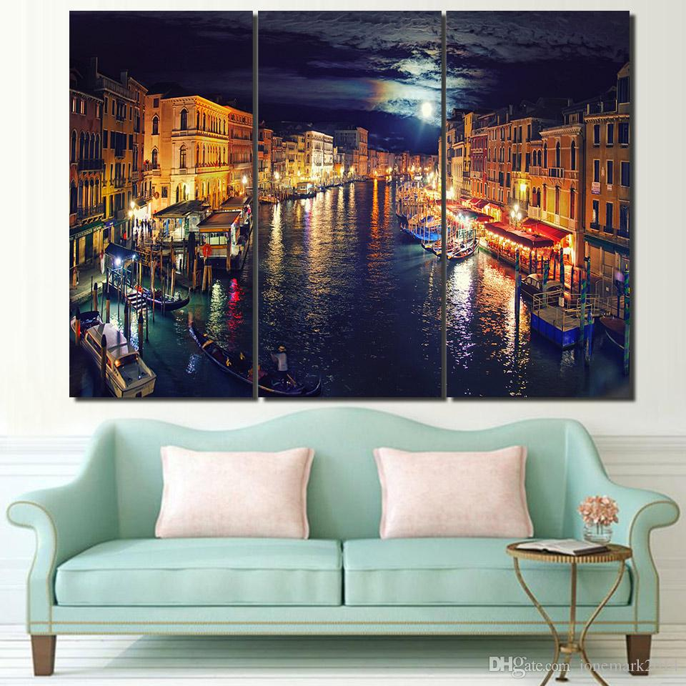 3 Pcs Set Framed Hd Printed Italy Venice Canal Wall Art Canvas Pictures For Living Room Bedroom Home Decor Canvas Painting