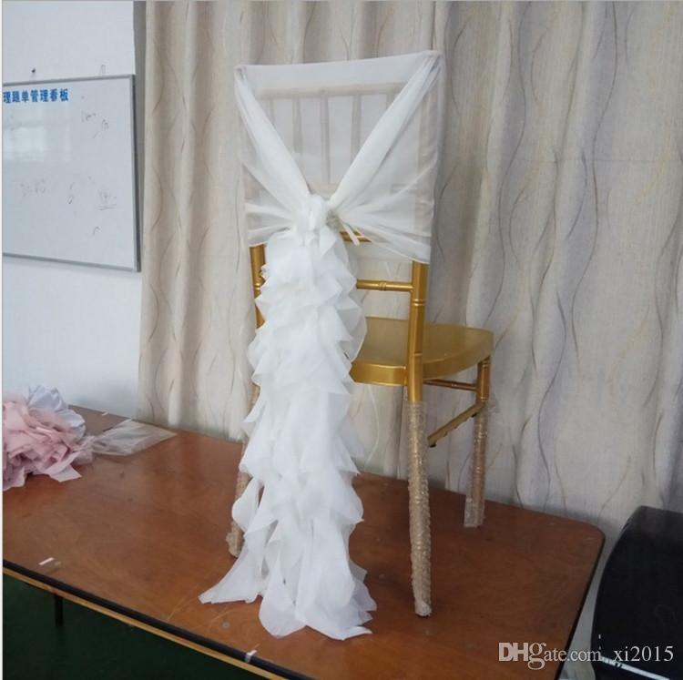 Ruffled Chair Sashes White Ivory Champagne Chair Covers Custom Made Organza Tulle Wedding Supplies Chair Decorations wa3906
