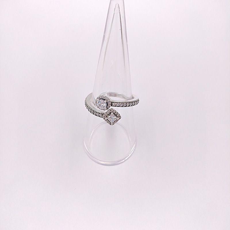 Аутентичные 925 серебряные кольца Аннотация элегантность, Прозрачный Cz Подходит Европейский Pandora Стиль ювелирных изделий Бесплатная доставка 191031CZ