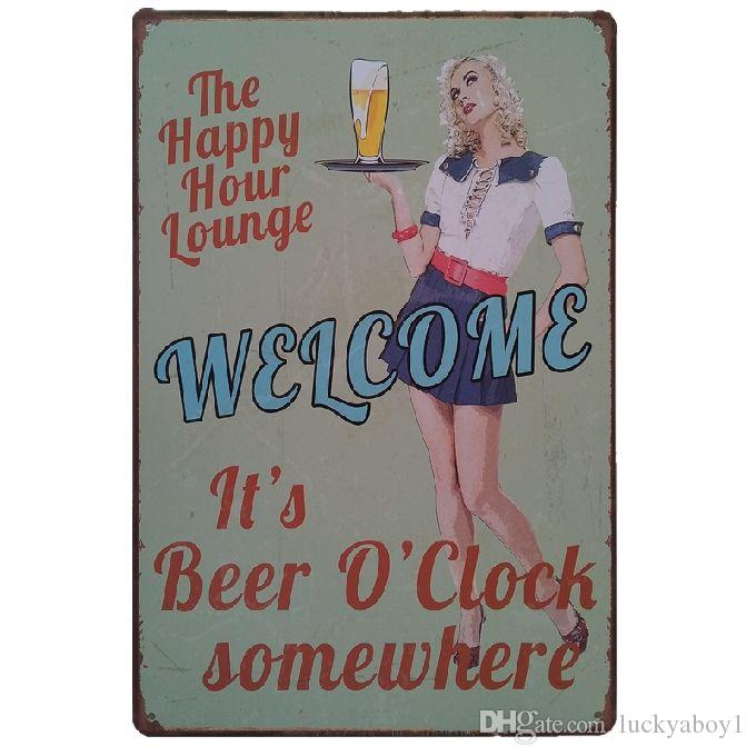 It's beer o'clock somewhere Retro rustic tin metal sign Wall Decor Vintage Tin Poster Cafe Shop Bar home decor