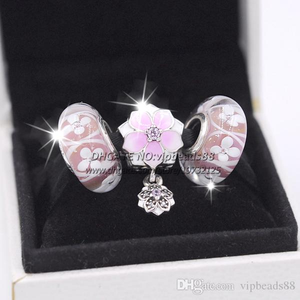 2017 primavera nuovo magnolia rosa perline di vetro smalto serie di gioielli da donna set collana di fascino europeo braccialetto compresa la scatola