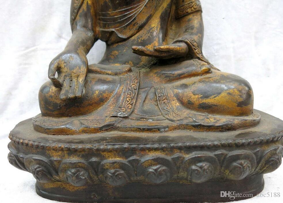 "14"" China bronze gild sculpture buddhism beautiful Shakyamuni buddha Statue"
