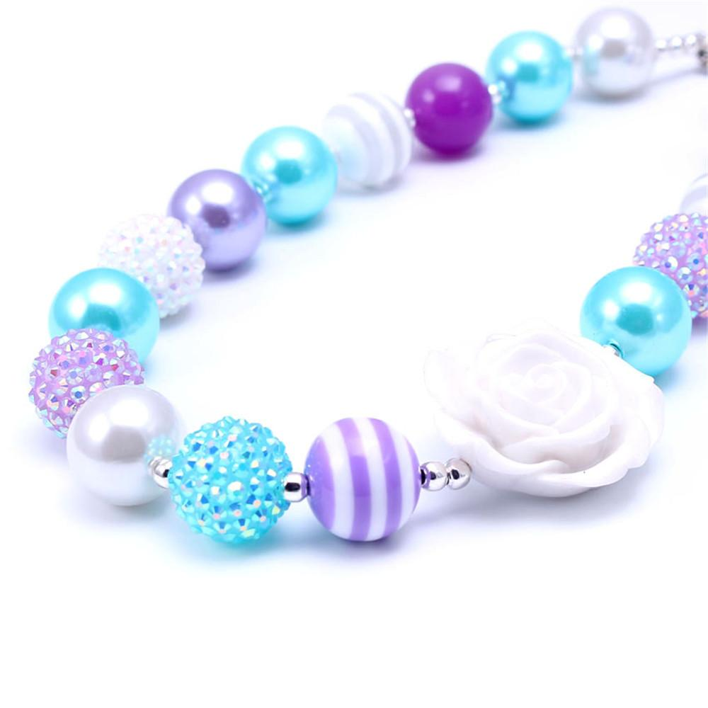 Newest Design Beautiful Necklace Birthday Party Gift For Toddlers Girls Beaded Bubblegum Baby Kids Chunky Necklace Jewelry