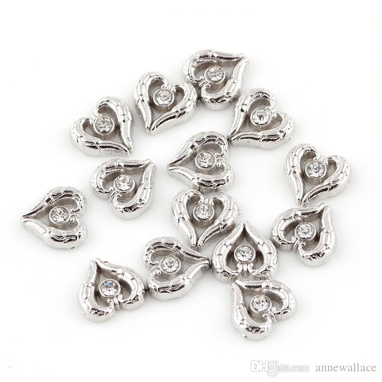 good quality new type alloy rhinestone heart floating charms for glass living memory lockets