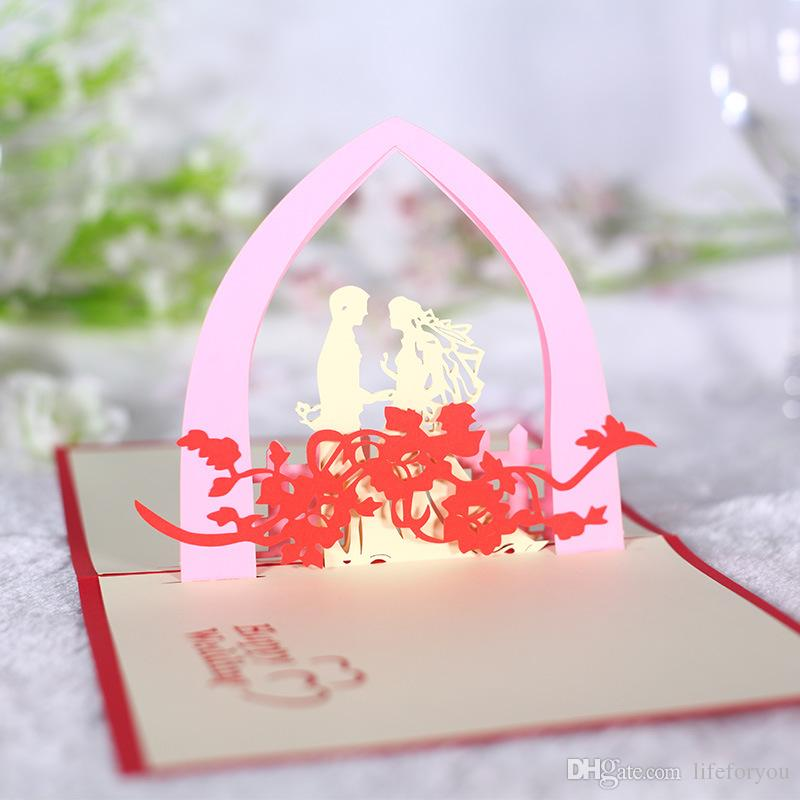 greeting cards wedding cards pop up cards congratulation card handmade wedding decorations centerpieces Valentine's Day card with envelope