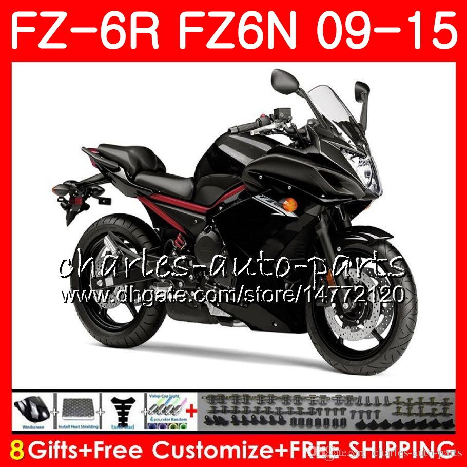 Body For YAMAHA glossy black FZ6N FZ-6N FZ6R 2009 2010 2011 2012 2013 2014 2015 82NO57 FZ-6R FZ6 R FZ 6N FZ 6R 09 10 11 12 13 14 15 Fairing