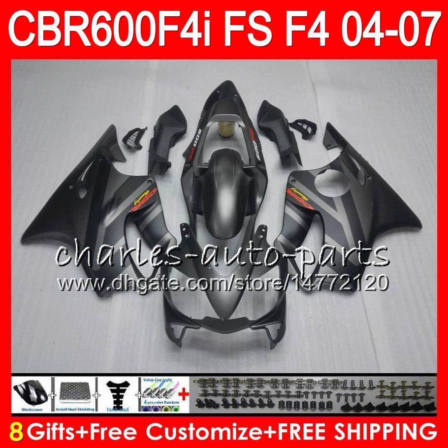 8GIFTS HONDA CBR600FS FS CBR600F4I 04 05 06 07 AAHM16 argento nero cbr600 f4i cbr 600F4i cbr 600 f4i 2004 2005 2006 2007 Fairing