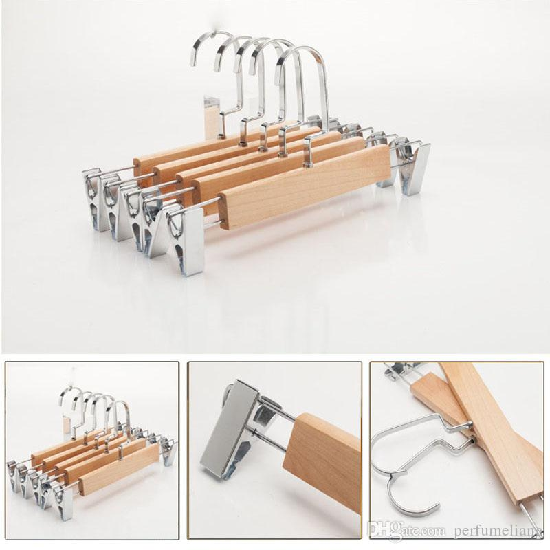 Wooden Hanger with Clips for Pants and Skirt Adults Children Trouser Clamp Hanger Rack Anti-skidding ZA4848