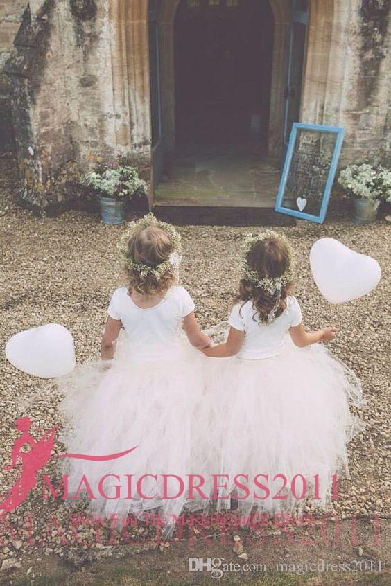 2019 Cute Princess Ball Gown Flower Abiti ragazze TuTu Skirt Jewel Neckline maniche corte Ruffled Pleated Wedding Kids Comunione Dress