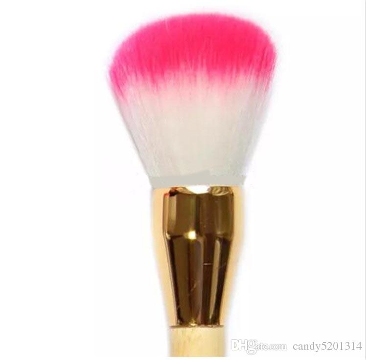 High Quality Universal Two Heads Makeup Brushes Blusher Brushes plus Sponge Brushes Puff Wood Handle Gold Tube Free DHL A08