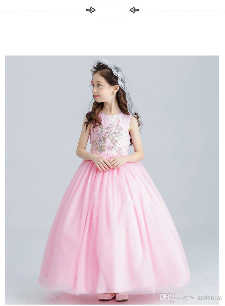 2018 Formal Pageant Long Gowns Girls Dresses Kids Costume Teenage