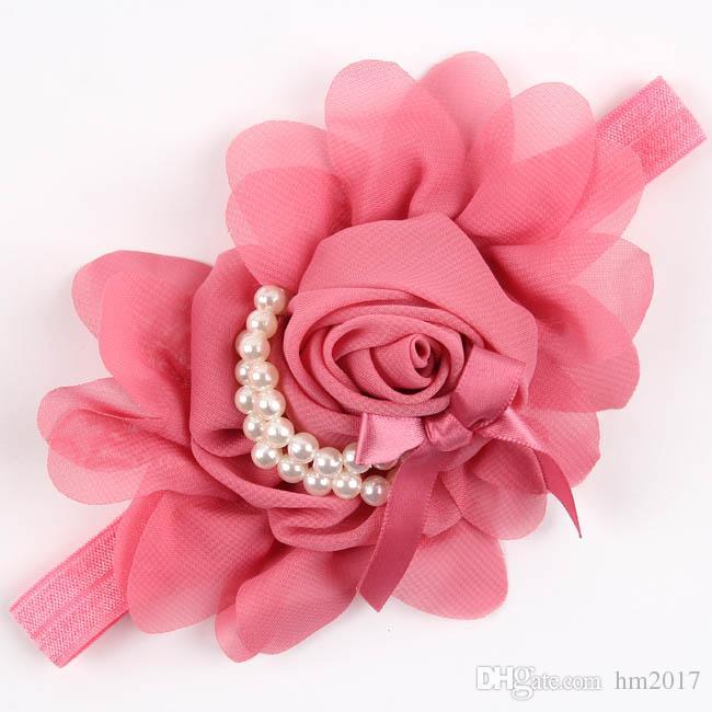 귀여운 신생아 꽃 머리띠 진주 장미 꽃 헤어 액세서리 스트레치 헤드웨어 사진 소품