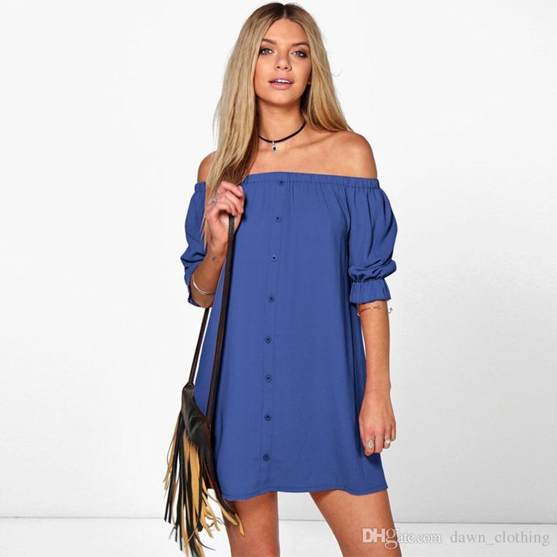 Maglietta del vestito dalla camicetta lunga del collo di Slash del manicotto casuale della manica delle donne di modo sexy off della spalla